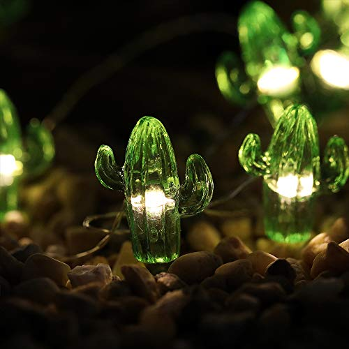 WSgift Tropical Cactus Decorative String Lights 13.85 Ft 40 Warm White LED Waterproof Battery Operated 8 Modes Cactus Lights for Holiday Parties Bedrooms Weddings Garden Decorations with Remote