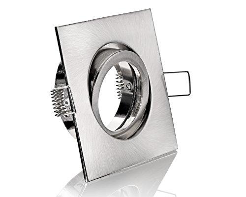 LED Einbaustrahler Einbauleuchte Einbauspot schwenkbar Gebürstet inklusive GU10 Fassung 230V (Viereckig Eisen-Gebürstet)