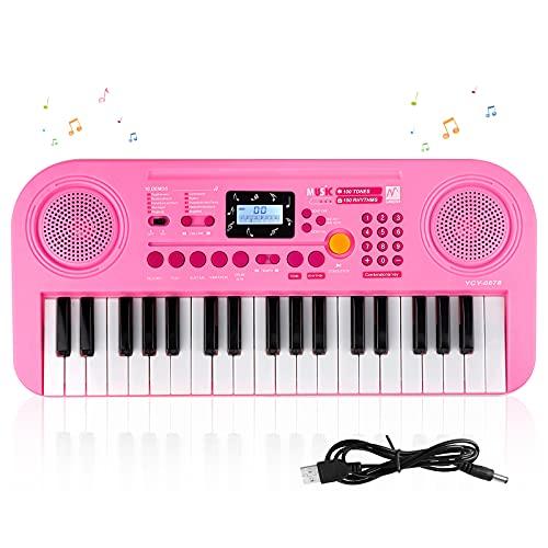 SANMERSEN おもちゃ ピアノ 37鍵盤 100種類音色 100種類リズム 10曲デモ 教育モード 初心者向け 録音/再生機能 LCD液晶画面 USB給電式 電池給電式 CE認証済 日本語取扱書付き 楽譜付き ピンク