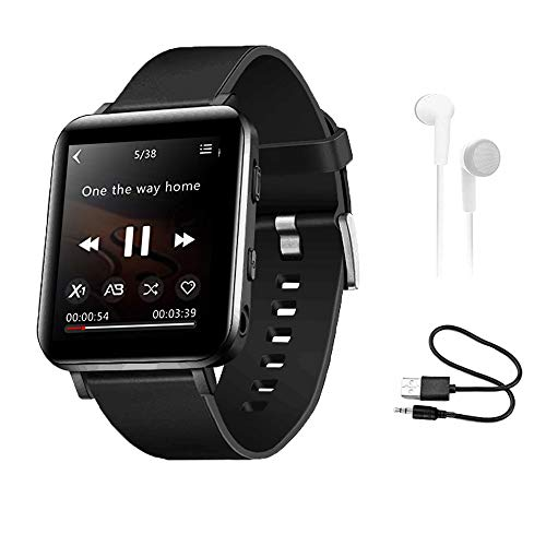 HONGYU 16GB Bluetooth MP3 Player with Touch Screen, Sports Watch MP3 Player with Pedometer, FM Radio, Recording, HiFi Lossless Sound Music Player for Running Joging Workout,Black