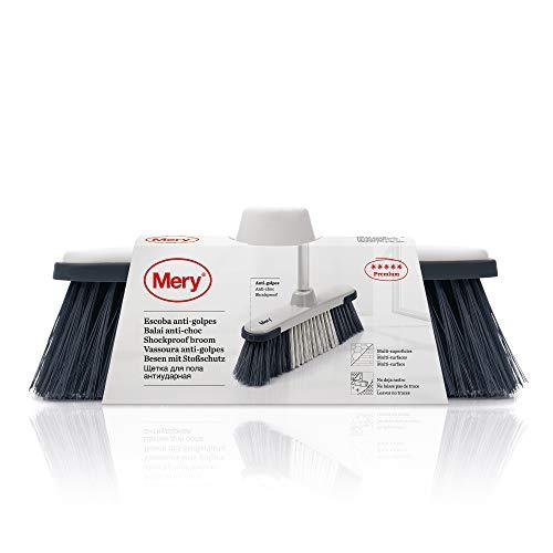 Mery 731.01 Escoba antigolpes, Gris/Negro, 28.5x7.5x19.5 cm