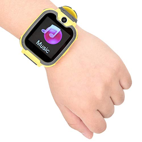FOLOSAFENAR Reloj electrónico para niños, Reloj de Ahorro de energía, para Llamadas de Emergencia, para niños(Yellow)