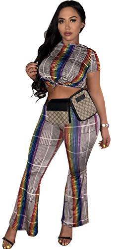 Dames Set Crop Top en Zomer Festival Broek Vintage Mode Casual Plaid Twee Stuk Set Korte Mouw Ronde hals Slim Fit Crop Top Lange Broek