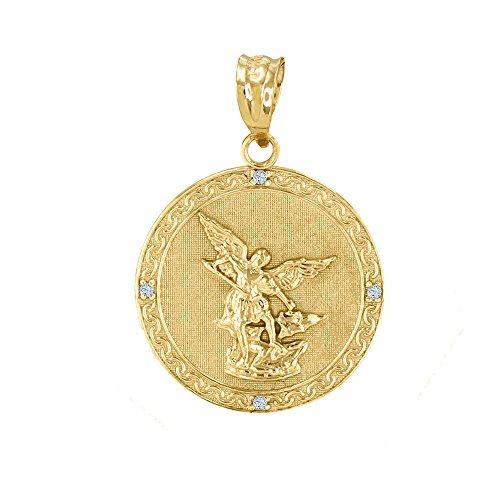 10k Yellow Gold Saint Michael The Archangel Diamond Medal Pendant (1')