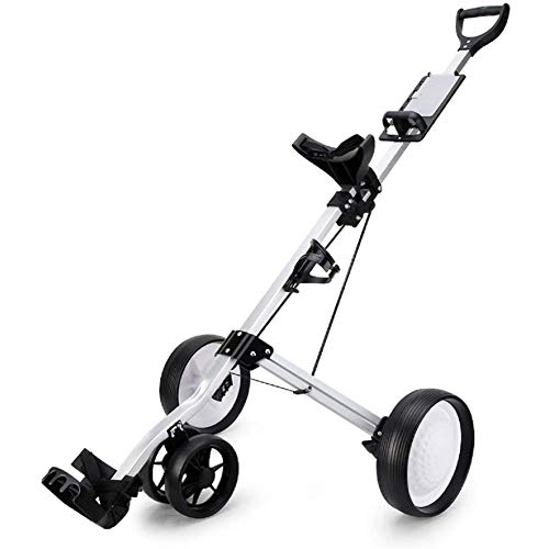 YLEI Golfwagen klappbar, Golf Push Trolley, Golftrolley, Golf trolleys 4 Rad, Golf Push Cart golftrolley zubehör,Golfwagen mit Scorekarten-Halterung