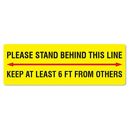 SignMission Coronavirus Stand Behind This Line 6ft from Others Rectangle Non-Slip Floor Graphic 6' x 18' | 12 Pack of Vinyl Decal | Protect Your Business, Work Place & Customers | Made in The USA