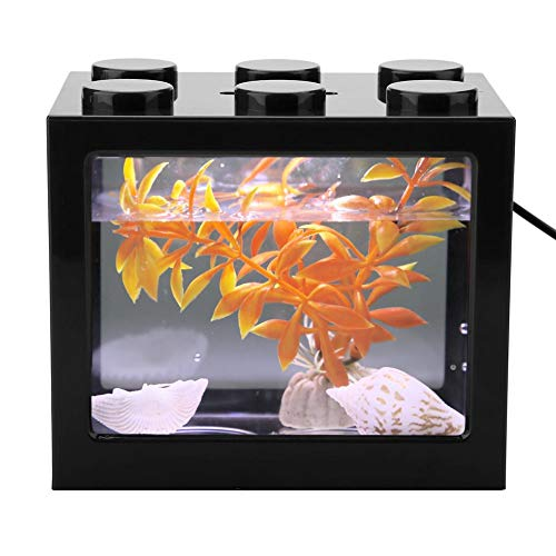 Aquariumtank, decoratief, mini-aquarium, USB, led, bureaulamp, vis, voor kantoor, thee, tafeldecoratie, zwart.