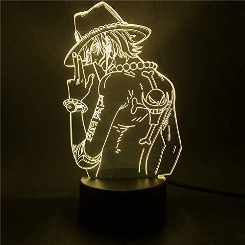 Anime Figure One Piece Portgas D Ace 3d Illusion Light Bedroom Led Night Light For Child Kids Cool USB LED Table Desk Lamp Toys