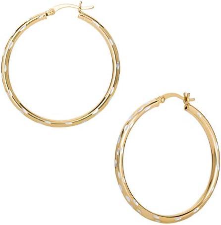 Ellen Tracy Fine Jewelry for Women Sterling Silver Two Tone Hoop Earrings product image