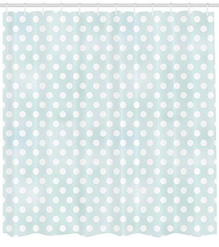 ABAKUHAUS Polka Dots Duschvorhang, Retro Stil Tupfen Punkte, Wasser Blickdicht inkl.12 Ringe Langhaltig Bakterie & Schimmel Resistent, 175 x 200 cm, Blasser Seafoam