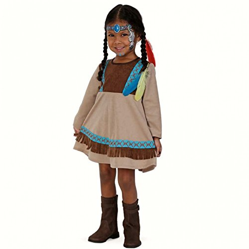 Fritz Fries & Söhne GmbH & Co Indiase Vrouw Blauw Veer Jurk Meisje Kostuum Carnaval Indiaas Festival (98 = 3-4 jaar)
