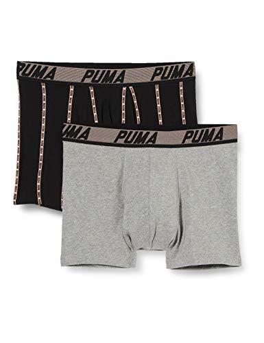PUMA Mens Logo Stripe Men's Boxers (2 Pack) Boxer Shorts, Black Combo, XL (2er Pack)