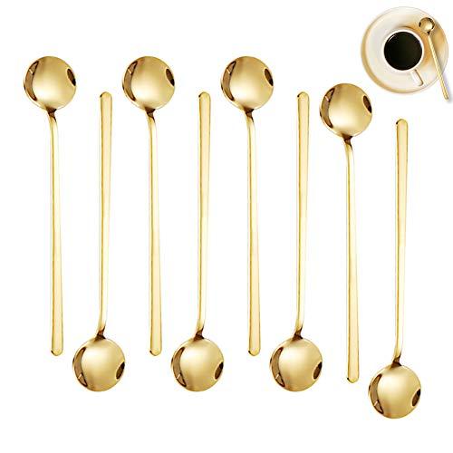 BONHHC Cucharas de café doradas, 8 unidades, de acero inoxidable, para postre, para tartas, para café, té, postre, bebidas, 13 cm, color dorado