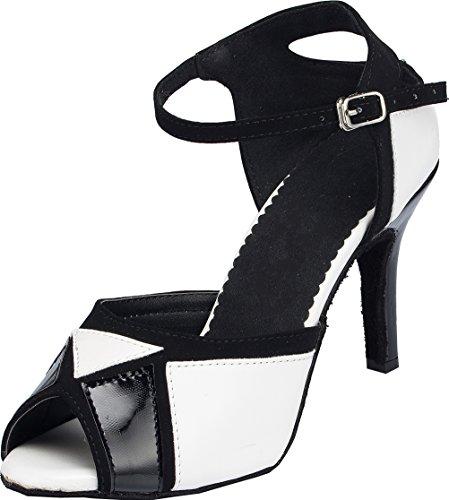 Zapatos de Baile para Mujer sexys Latinos Modernos Tango Cha-cha con Puntera Abierta de Poliuretano, Color Blanco, Talla 35.5 EU
