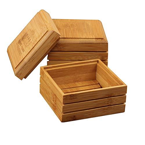 hehsd0 natuurlijke bamboe zeepkist met deksel, 1 pc/2 stuks antislip zeepkist rek ouderwetse badkamer opslag accessoires zeep afvoerrek voor badkamer/douche/keuken