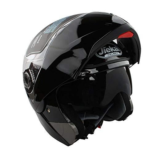 Estink Motorradhelm Klapphelm, Genehmigt Integralhelm Fullface Klapphelm Motorrad Roller Sturz Helm, mit Sonnenblende 59-60 cm (L, Helles Schwarz)