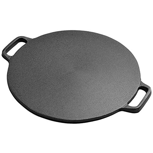 CHUNGEBS Home-Complete Cast Iron Pizza Pan-15inch Skillet for Cooking, Baking, Even-Heating and Versatile Kitchen Cookware, Black
