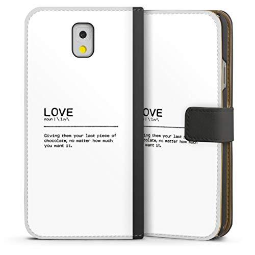 DeinDesign Custodia a Portafoglio Compatibile con Samsung Galaxy Note 3 Custodia per Cellulare di Similpelle Nera Cover a Libro Amore Cioccolata Statement
