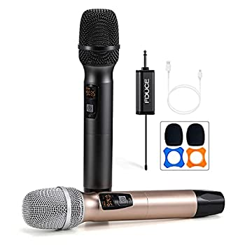 Wireless Microphone Karaoke Mic FDUCE UHF Dual Handheld Dynamic System with Rechargeable Receiver for Party Church Meeting Wedding 260ft  Grey and Gold