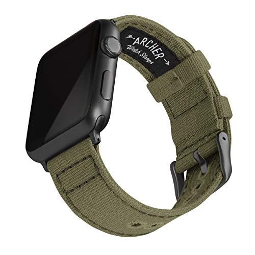 Archer Watch Straps - Canvas Uhrenarmband für Apple Watch (Blasses Olivgrün, Space Grau, 42/44mm)