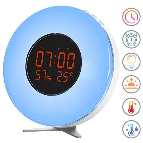 Lichtwecker Wake Up Licht - Sonnenaufgang Simulation Wecker mit Alarmen, 10 Helligkeit, Schlummerfunktion, 5 natürlichen Klängen und Temperaturanzeige für Erwachsene und Kinder/Alten
