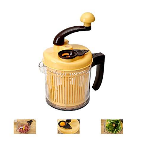 Nootu keukenmachine voor levensmiddelen, multifunctioneel, met de hand bediend, chopper, grote keuken, groentesnijder, keukenaccessoires, 2 messen, geel