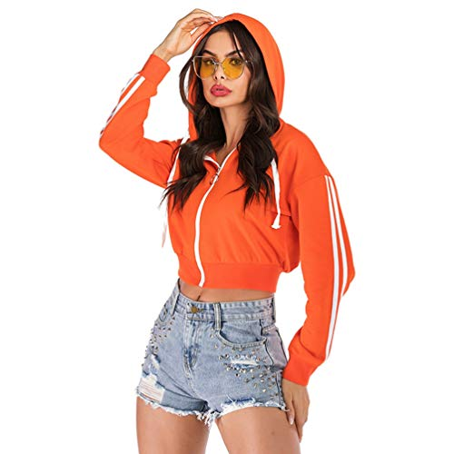 Femme Solide Top Hoodie Manches Longues Full Zip Sweat-Shirt À Capuche Orange M