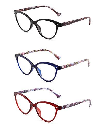 JM 3 Pack Mode Designer Katzenauge Lesebrille Federscharnier Brillen für Leser Damen +3.0 Mischfarbe