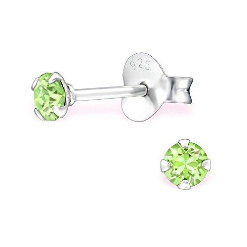Bungsa® grüne Kristall-Ohrstecker mit 3mm SWAROVSKI® Kristall rund aus 925 Silber - Peridot grüne Ohrringe mit SWAROVSKI-Stein