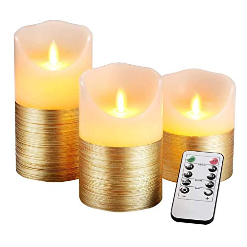 Sisyria 3 Set Gold LED Candles Battery Operated with 10 Key Remote Control And Cycling 24 Hour Timer, Flameless Real Wax Flickering Moving Wick Flickering Amber Yellow Light Pillar Candles