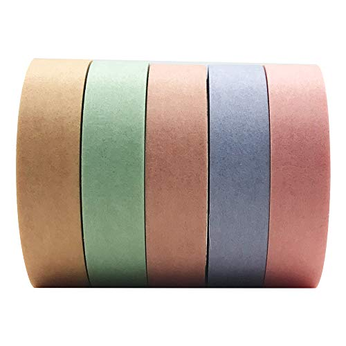 Solid Color Washi Tape Set, EnYan 5 Rolls Basic Collection Decoration 10mm Wide Japanese Masking Decorative Tapes for Bullet Journal Planners DIY Crafts Arts Scrapbooking Adhesive
