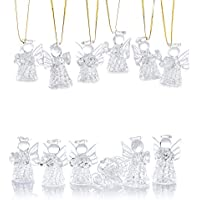 Nuptio 12 Piezas Mini Adornos de Cristal Transparente para el árbol de Navidad de los ángeles Que Cuelgan, Decoraciones Navideñas de Temporada Navideña Colgando Adornos