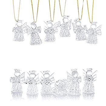 NUPTIO 12 Pcs Beautiful Mini Clear Glass Hanging Angels Tree Ornaments Christmas Season Holiday Decorations Glass Art Prayer Guardian for Childen Teens Loved Ones Encouragement