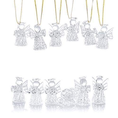 Nuptio 12 Pcs Beautiful Mini Clear Glass Hanging Angels Tree Ornaments, Christmas Season Holiday Decorations, Glass Art Prayer Guardian for Childen Teens Loved Ones Encouragement