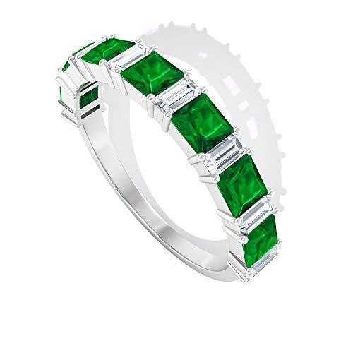 Anillo de eternidad de esmeralda de corte princesa de 0,91 quilates, diamante con forma de baguette de 0,4 quilates certificado SGL, HI-SI claridad de color, anillo de oro para mujer, 14K Oro