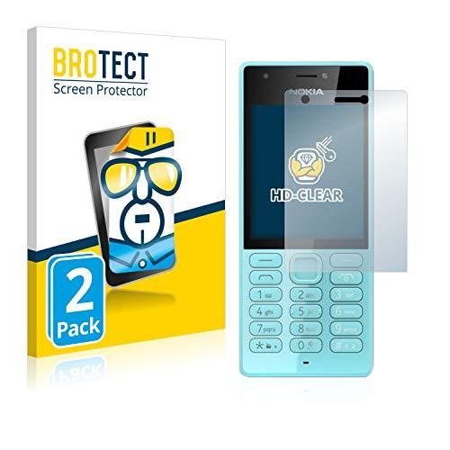 BROTECT Schutzfolie kompatibel mit Nokia 216 (2 Stück) klare Bildschirmschutz-Folie