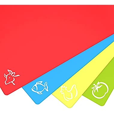 Plastic Cutting Mat Set - Quality Thin Cutting Boards 4 Colors - Non-Toxic, Flexible & Non-Slip - Perfect for Chopping Vegetables, Beef, Fish, Chicken - Food Icons - Extra Large by Zulay Kitchen