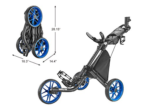 CaddyTek Caddylite EZ V8 - EZ-Fold 3 Wheel Golf Push Cart Version 8, Blue
