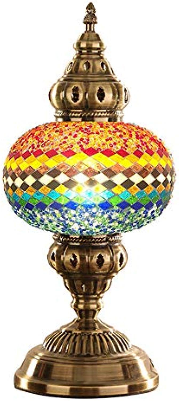 JL-Q Led atmosphre tischlampe Kreative Türkische mosaik nachttischlampe E14 Europischen nachtlicht Handgefertigten Glas Hotel Schlafzimmer Dekoration tischlampe,5thFarbe