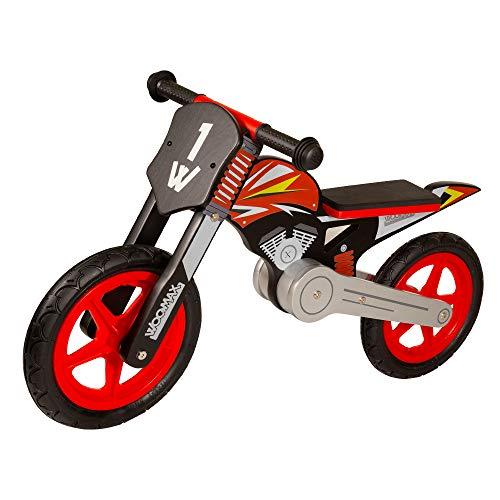 Woomax 85368 Vélo sans pédales en Bois, 90 x 37 x 50 cm, Moto en Bois, vélo d'initiation, Enfants 2 Ans, vélo pour Enfants, Max 25 kg, Rouge et Noir, de 2 à 5 Ans