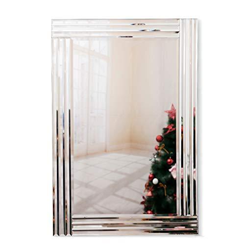 RICHTOP Wandspiegel groß Rechteck Rahmenlos, Venetian Schminkspiegel Schwarz Holz Backing, Triple abgeschrägte Kante Wandmontage für Wohnzimmer, Flur, Barbershop 60 x 90 cm