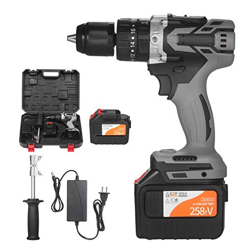 Topuality 21V 6.0A Cordless Drill Driver Batteries Max Torque 200N.m 1/2 Inch Metal Keyless Chuck 20+3 Position 0-1550RMP Variable Speed Impact Hammer Drill Screwdriver With PlasticTool Box