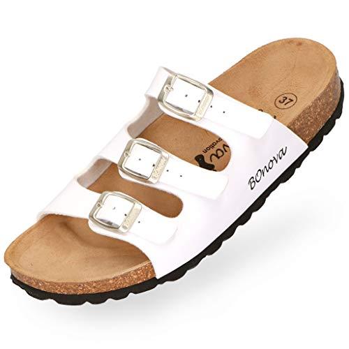 BOnova Damen Pantolette Menorca in 7 Farben, Hausschuhe handgefertigt in der EU, Sommer-Sandalen mit DREI verstellbaren Riemen und Kork-Fußbett Weiss 39