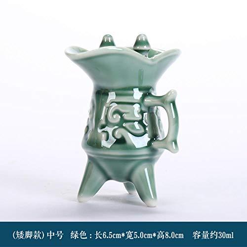 Weingläser Keramik Vintage Weinglas Groß Hoch Weißweinglas Chinesisch Klein Weinglas Alter Weintrinkbecher- (Kurze Füße) Grün/Mittel (30Ml)