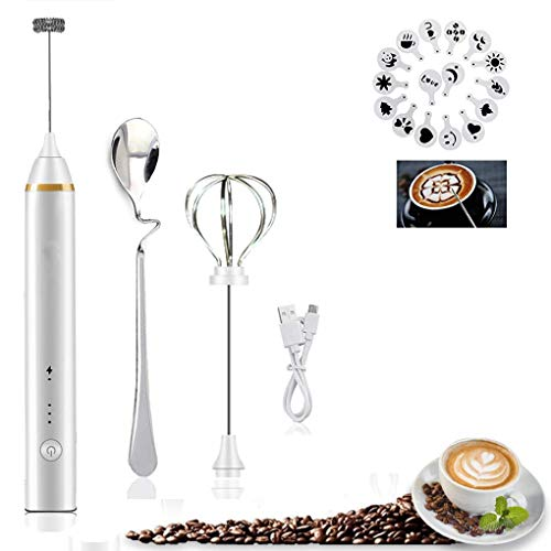 2 in 1 Elektrischer Milchaufschäumer, Mini Tragbarer Wiederaufladbarer Elektrischer USB Drei-Geschwindigkeits-Verstellbarer Multi-Mixer für Kaffee mit 1 Stück Cullière und 16 Stück Kaffee-Formen