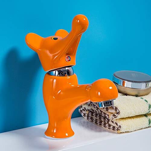 Vinteen Elefant Keramik Wasserhahn Kinder einzigen kalten Wasserhahn Cartoon Keramik Wasserhahn Kindergarten waschbecken Farbe Wasserhahn (Color : Orange)