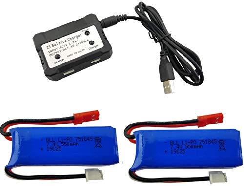 Fytoo 2stuks 7.4V 550mAh Lipo High Speed-batterij en 2 in 1 oplader voor Wltoys K969 K979 K989 K999 P929 P939 RC auto-accessoires