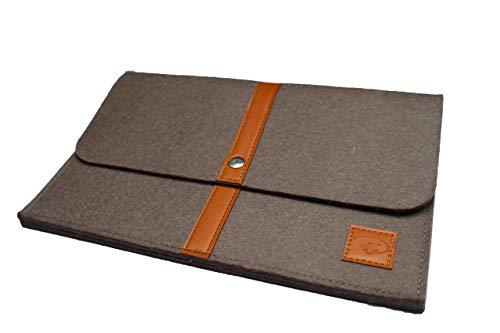 Dealbude24 Schöne Tablet Tasche aus Wolle passend für Samsung Galaxy Tab S6 Lite/Tab S7 / Tab A7 / Tab Active Pro, Stoßfeste Tablet Hülle für Büro, Reise, Uni & zu Hause Davii in klein Braun