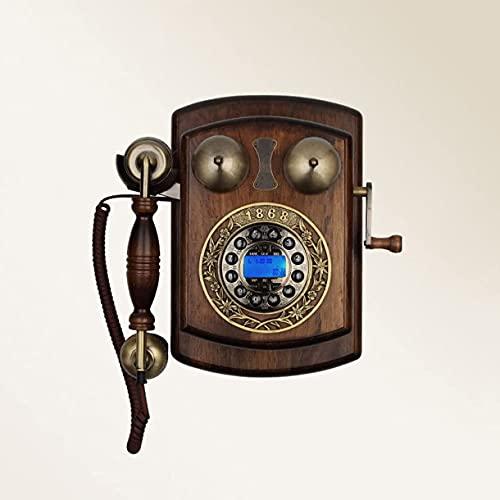 Teléfono Antiguo montado en la Pared Teléfono Fijo clásico de Madera Maciza Línea Fija Creativa inalámbrica
