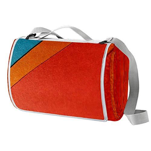 TIZORAX Picknickdecke in Rot, Orange, Blau und Gelb, wasserdicht, faltbar, für Strand, Camping, Wandern